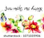 flowers watercolour...   Shutterstock . vector #1071035906