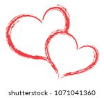 heart shape vector  sketch... | Shutterstock .eps vector #1071041360