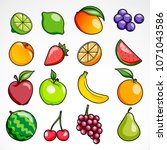 collection of shiny fruits | Shutterstock .eps vector #1071043586