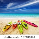 colorful kayaks on the tropical ... | Shutterstock . vector #107104364