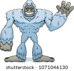Stock vector a cartoon illustration of a yeti waving 1071046130