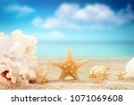 the view on sandy beach with... | Shutterstock . vector #1071069608