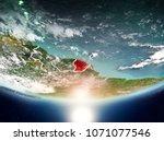 french guiana from orbit of... | Shutterstock . vector #1071077546