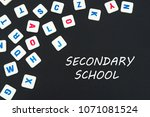 english school concept  text... | Shutterstock . vector #1071081524