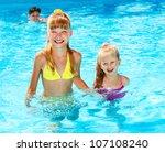 children in swimming pool.... | Shutterstock . vector #107108240