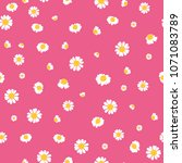 pink yellow daisies ditsy... | Shutterstock .eps vector #1071083789