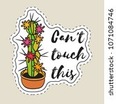 sticker with cactus in pot with ... | Shutterstock .eps vector #1071084746