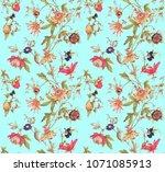 pattern textile flower | Shutterstock . vector #1071085913