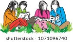 group of students reading at... | Shutterstock .eps vector #1071096740