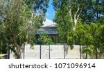 Tall gum trees and other tropical foliage partially hide a metal roofed Queenslander house behind  a white picket fence