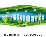 green eco friendly urban forest ... | Shutterstock .eps vector #1071098906