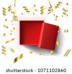 top view open red box on white... | Shutterstock .eps vector #1071102860