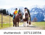 kids riding pony in the alps...   Shutterstock . vector #1071118556