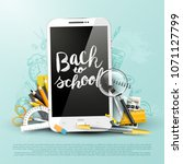 trendy school design flyer with ... | Shutterstock .eps vector #1071127799
