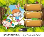 kids exploring rain forest...   Shutterstock .eps vector #1071128720