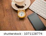 top view of a desk designer... | Shutterstock . vector #1071128774