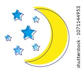 moon with stars silhouette... | Shutterstock . vector #1071144953