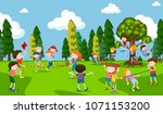 students are playing at...   Shutterstock .eps vector #1071153200
