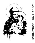 saint anthony and child jesus... | Shutterstock .eps vector #1071154724