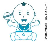 baby girl with diaper and... | Shutterstock .eps vector #1071156674