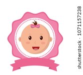 head baby girl lace with ribbon ... | Shutterstock .eps vector #1071157238