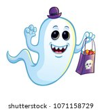 silly ghost with trick or treat ... | Shutterstock .eps vector #1071158729