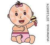 baby girl with diaper and... | Shutterstock .eps vector #1071160574