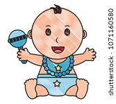 baby boy with diaper and jingle ... | Shutterstock .eps vector #1071160580