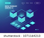 server room banner  datacenter... | Shutterstock .eps vector #1071164213