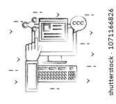 desktop computer with social... | Shutterstock .eps vector #1071166826
