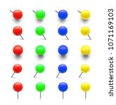set of colorful push pins in... | Shutterstock .eps vector #1071169103