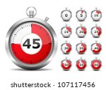 set of red timers  vector eps10 ... | Shutterstock .eps vector #107117456