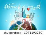 around the wotld concept with... | Shutterstock .eps vector #1071193250
