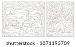 set contour illustrations of... | Shutterstock .eps vector #1071193709