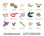 vector set of spices in flat... | Shutterstock .eps vector #1071202610