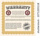 orange warranty certificate... | Shutterstock .eps vector #1071205118