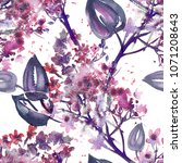 lilac seamless pattern....   Shutterstock . vector #1071208643