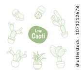 exotic cactus succulent flower... | Shutterstock .eps vector #1071212678