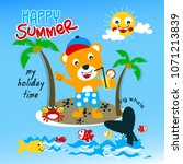 cute summer fun animal cartoon... | Shutterstock .eps vector #1071213839