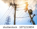 electricity concept  close up... | Shutterstock . vector #1071213854