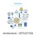 business aim. setting duciness... | Shutterstock .eps vector #1071217136