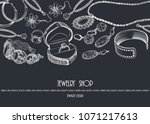vintage frame with jewelry.a... | Shutterstock .eps vector #1071217613