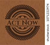 act now retro wood emblem | Shutterstock .eps vector #1071222974