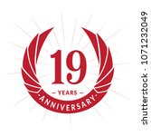 19 years anniversary. elegant... | Shutterstock .eps vector #1071232049