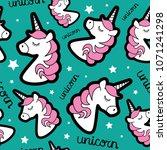 unicorn drawing seamless...   Shutterstock .eps vector #1071241298