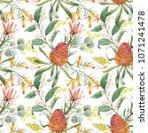 tropical floral print  orange... | Shutterstock . vector #1071241478