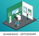 isometric 3d illustration expo... | Shutterstock . vector #1071241649
