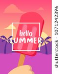 hello summer banner with ice... | Shutterstock .eps vector #1071242396
