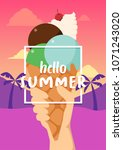 hello summer banner with ice... | Shutterstock .eps vector #1071243020