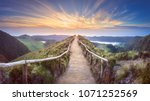 mountain landscape with hiking... | Shutterstock . vector #1071252569